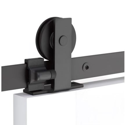 Emtek Modern Rectangular Top Mount Barn Door Hardware Black